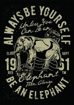 Vintage słoń, plakat vintage ilustracji.