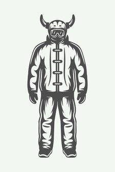 Vintage sportowca zimowego w kombinezon narciarski. grafika monochromatyczna. ilustracja wektorowa.