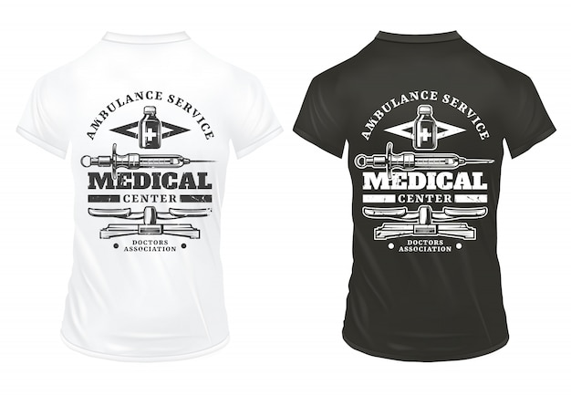 Vintage sprzęt medyczny drukuje szablon z napisami strzykawka farmaceutyczna waga butelki na czarno-białych koszulkach na białym tle