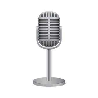 Vintage srebrny mikrofon na białym tle