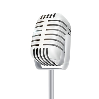 Vintage srebrny mikrofon studyjny.