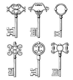 Vintage średniowieczne klucze