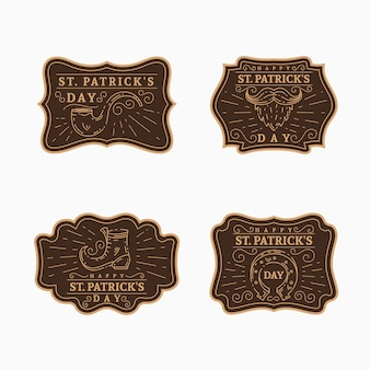 Vintage st. kolekcja etykiet patrick's day