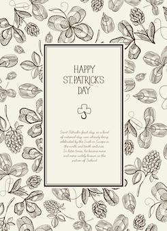 Vintage st patricks day kwiatowy szablon z tekstem w prostokątnej ramce i szkic ilustracji wektorowych irlandzkiej koniczyny