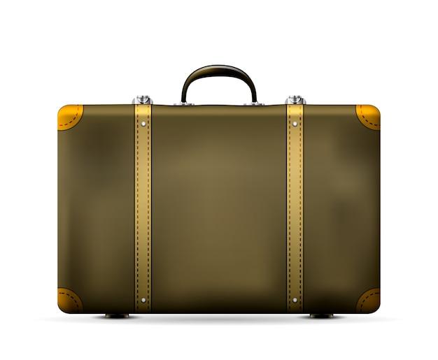 Vintage stara walizka podróżna na białym tle