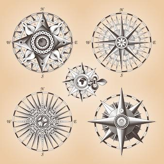 Vintage stare antyczne kompas morskie wzrosła