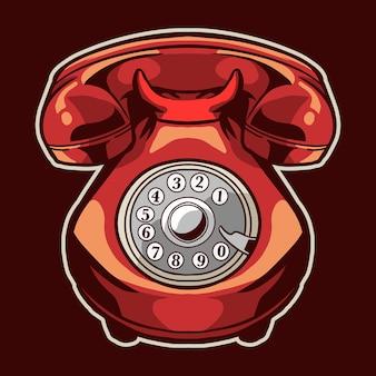 Vintage stary telefon na białym tle na bordowym
