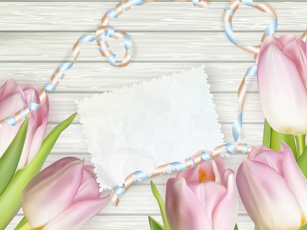 Vintage stonowane tulipany i papier firmowy.