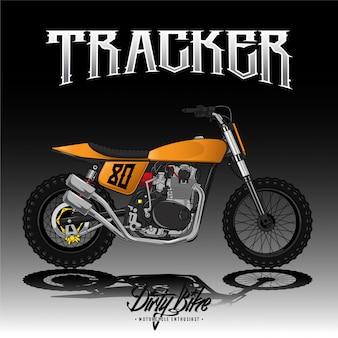 Vintage street tracker motocykl plakat premium wektor