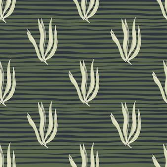 Vintage streszczenie wodorosty bezszwowe wzór na tle pasek. tło podwodne liści. tapeta z roślinami morskimi. projekt na tkaninę, nadruk na tkaninie, opakowanie, okładkę. ilustracja wektorowa.
