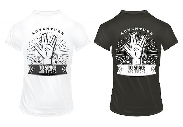 Vintage strony drukuje szablon z napisem wulkan salute pozdrowienie gest sunburst na czarno-białych koszulach na białym tle
