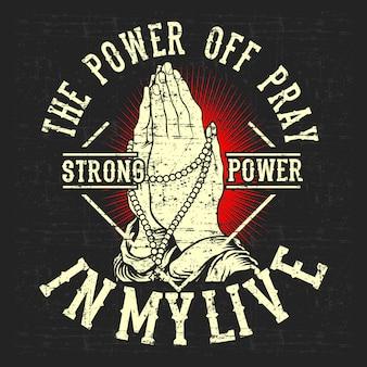 Vintage styl grunge moc wyłączyć modlić, rysunek