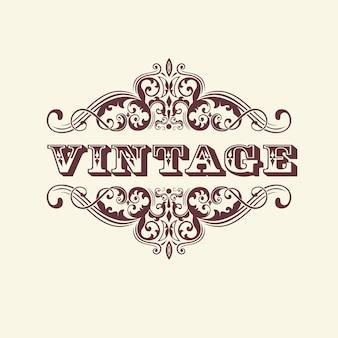 Vintage stylizowany znak. z elementami kwiatowymi. elegancki element projektu zaproszenia.