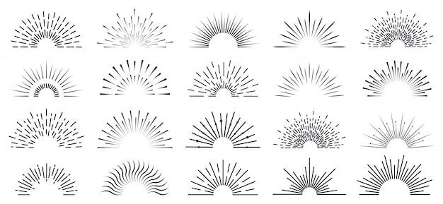 Vintage sunburst. retro promienny sunburst, ręcznie rysowane etykieta starburst, promienie słoneczne, promienie fajerwerków. zestaw ikon pękających linii wybuchu. promieniowe promienie słoneczne, ilustracja liniowa starburst