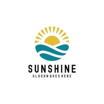 Vintage sunshine sunset ocean waves symbol projektowanie logo