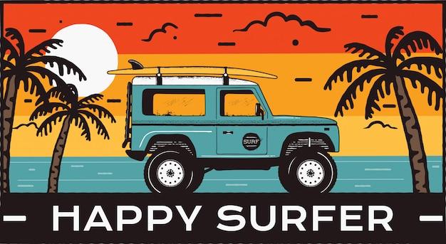 Vintage surfing beach scene tło