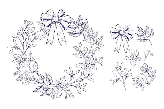Vintage świąteczna kolekcja kwiatów i wieńców