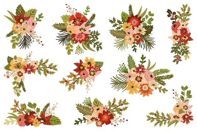 Vintage świąteczne kompozycje kwiatowe
