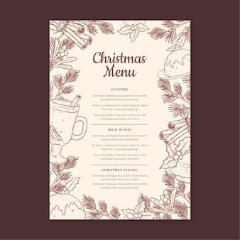 Vintage świąteczne menu pionowe szablon