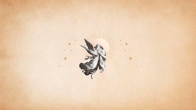Vintage świąteczny anioł stróż z domeny publicznej na starym wektorze z brązowego papieru