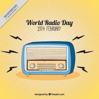 Vintage światowy dzień radia tle