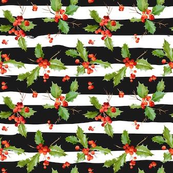 Vintage święta jagoda bez szwu świąteczny wzór