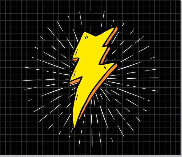 Vintage symbol błyskawicy z sunburst w tło grunge