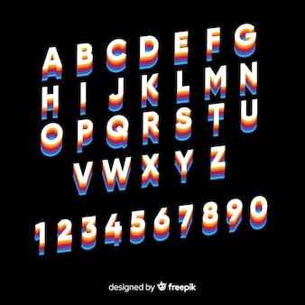 Vintage szablon alfabetu płaska konstrukcja
