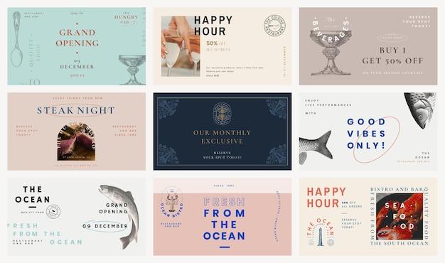 Vintage szablon banera bloga dla zestawu restauracji, zremiksowany z dzieł z domeny publicznej