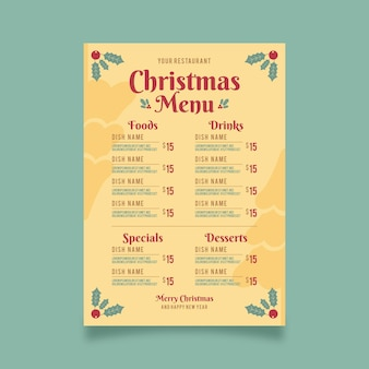 Vintage szablon menu restauracji świąteczne