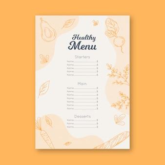 Vintage szablon menu restauracji zdrowej żywności