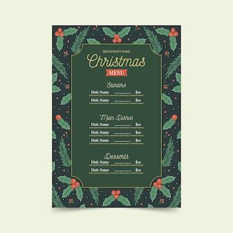Vintage szablon menu świąteczne