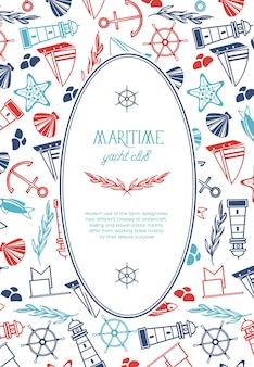 Vintage szablon morski z tekstem w owalnej ramce i ręcznie rysowane elementy morskie