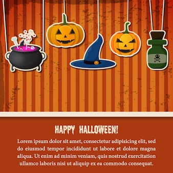 Vintage szablon świąteczny halloween party z papierowymi wiszącymi dyniami kapelusz czarownicy kocioł butelka mikstury
