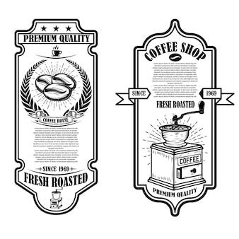 Vintage szablony ulotek kawiarni