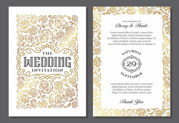 Vintage szablony zaproszenia ślubne projekt okładki z ornamentami złotymi różami wektor tradycyjnych w świetle