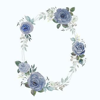 Vintage szaro-niebieska róża i zielone liście z okrągłą owalną ramką z lekkiego drutu