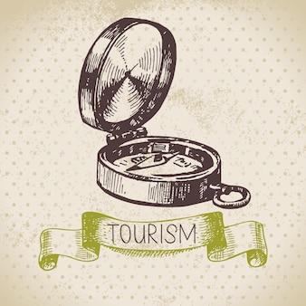Vintage szkic tło turystyka. wycieczka i kemping ręcznie rysowana ilustracja
