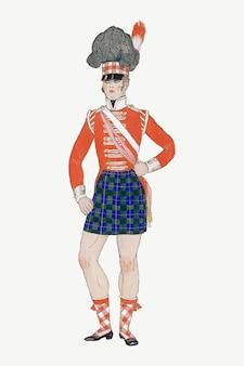 Vintage szkocka armia vectr vintage tradycyjna moda, remiks z dzieł george'a barbier