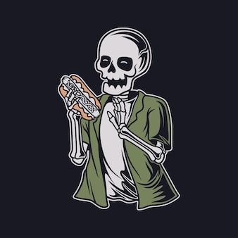 Vintage t shirt design czaszka gotowa do zjedzenia hot doga ilustracja