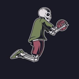Vintage t shirt design czaszka niesie ilustrację kosza z piłką