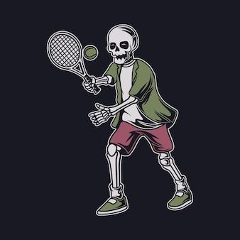 Vintage t shirt design czaszka z piłką rzucającą pozycją tenisową ilustracją