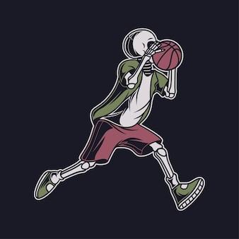 Vintage t shirt projektuje czaszkę biegnącą niosąc ilustrację kosza z piłką