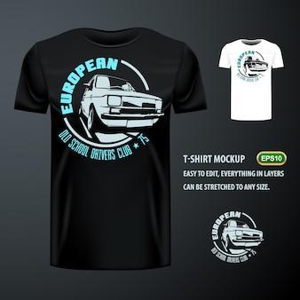 Vintage t-shirt ze stylowym europejskim starym samochodem. edytowalne makiety