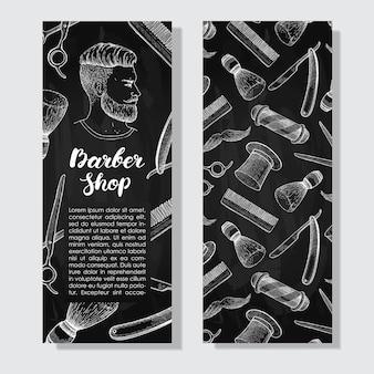 Vintage tablica ręcznie rysowane ulotki barber shop
