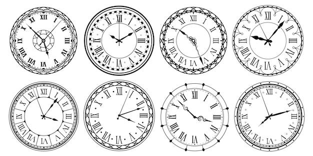 Vintage tarcza zegara. tarcza zegarka retro z cyframi rzymskimi, ozdobnym zegarkiem i antycznym wzorem zegarków