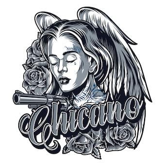 Vintage tatuaż ładnej dziewczyny chicano