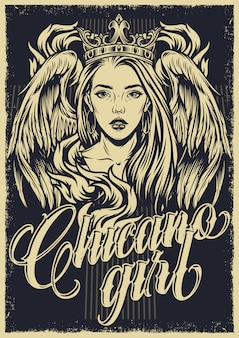 Vintage tatuaż monochromatyczny plakat chicano