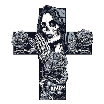 Vintage tatuaż w kształcie krzyża chicano