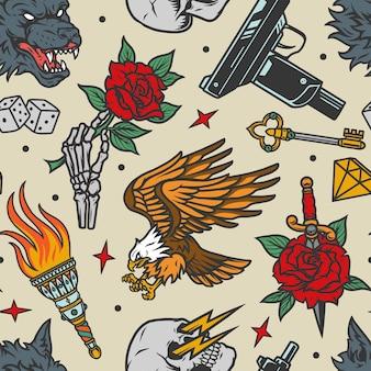 Vintage tatuaże wzór z wściekłą głową wilka, orłem i ręką szkieletu